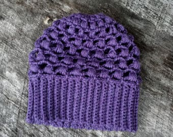 crochet blythe hat, purple lacy doll hat, slouchy doll beanie, hip doll accessory, blythe purple beanie, trendy doll clothes, unique hat