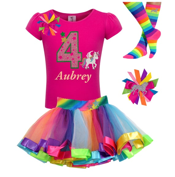 4th Birthday Unicorn Rainbow Themed Outfit for Girls
