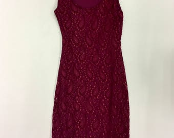 Vintage Bugundy Lace Shift Dress - stretch lace strapless dress- dark red -Womens S/M