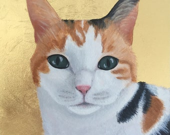 Custom Pet Portrait, Gold Leaf, Personalized Cat Dog Pet Memorial Painting Birthday, Boyfriend Husband Wife Mom Dad Parent Christmas Holiday