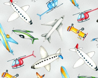 Tossed Airplanes Grey from Wilmington Prints 112cm (w) x 25cm