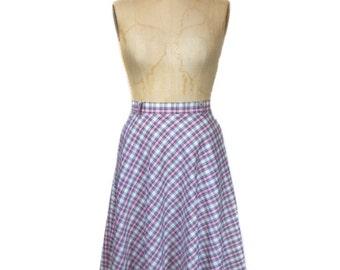 vintage 1970's plaid skirt / cotton blend / MJ Concepts in Sportswear / full skirt / spring summer / women's vintage skirt / tag size 7