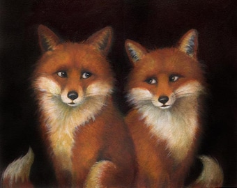 Fox Portrait Print -  Fox Art - Fox Painting - Animal Portrait Print - Fox Couple - Foxes