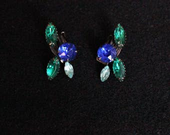 Vintage Rhinestone Earrings, 1960s Clip On Earrings