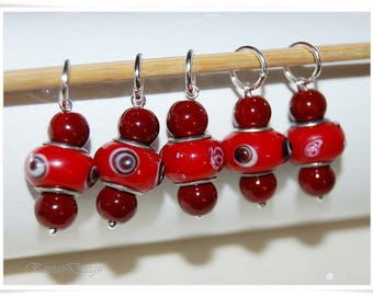 Stitch markers Knitting Lampwork beads Knitting accessories Stitchmarker holder marker for knit snagfree marker
