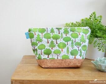 Woodland Wash bag, Vegan Leather Bag, Vegan Leather Clutch, Toiletry Bag, Nappy Bag, Cosmetic Bag, Cork Leather, Zipper Bag, Woodland Gift