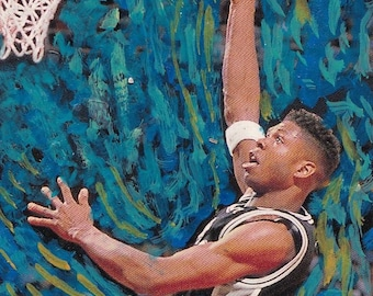 J.R. Reid Spurs ACEO Art Trading Card ATC NBA Van Gogh Starry Night Original Art Acrylic