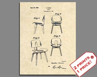 Patent Art - Charles Eames Chair Patent Print - Mid Century Modern Patent Prints - Art Deco Wall Art - Eames Furniture Patent Poster - 252