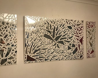 Stunning One of the Kind Three Pieces Mirror Mosaic Wall Art