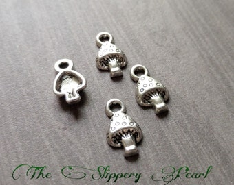 Mushroom Charms Antiqued Silver Mushrooms Miniature Charms Bulk Charms 50 pieces Wholesale Charms BULK Charms Tiny Mushroom Charms