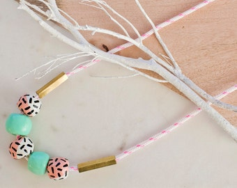 Gelati fun: Hand painted clay bead necklace - on trend fashion, pastel, fun, colour, brass, rope, unique jewellery