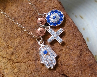 Faith & Good Fortune Hamsa Rose-Gold Crystal Charm .925 Silver Necklace