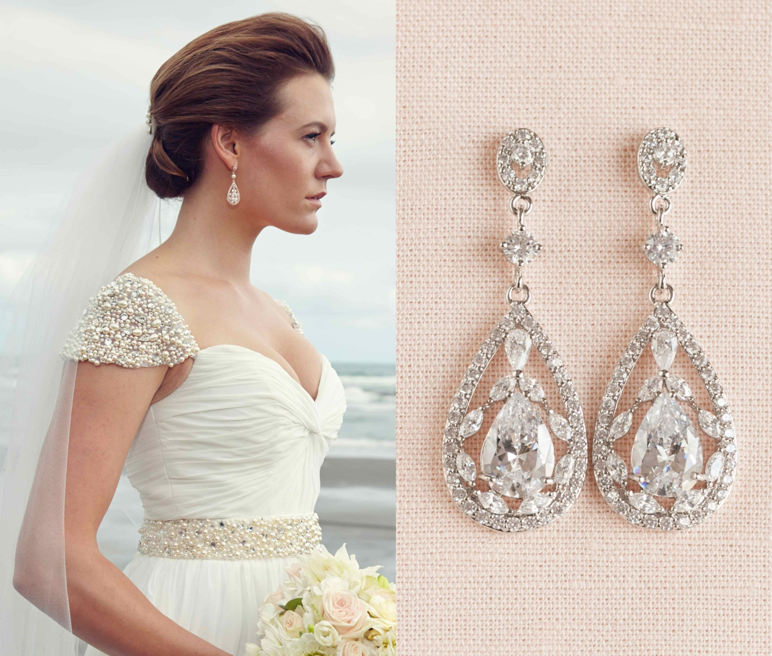 wedding page pear collections teardrop and oval clip earrings cz bride drop day on marquise bridal