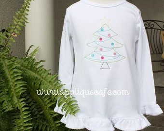 887 Vintage Christmas Tree Machine Embroidery Applique Design