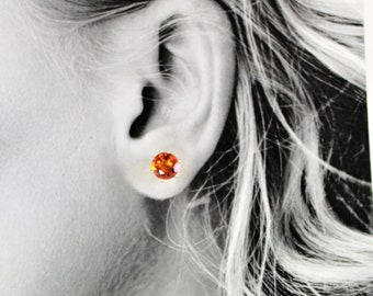 Orange Quartz 8mm 3.85ctw Sterling Silver Stud Earrings