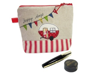 Cute Red Makeup Case, Personalised Camper Gift, Cosmetic Pouch, Red Vintage Caravan Bag
