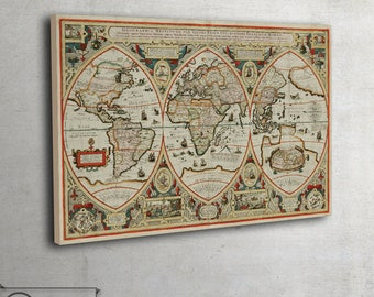 "Large world map poster - Vintage map fine art museum class print - large art print up to 42"" x 63"" - 084"