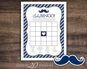 Instant Download Navy Mustache Baby Shower Bingo Game, Printable Mustache Baby Bingo, Navy Blue Grey Moustache Baby Shower Bingo Game #27C
