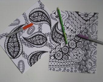 Instant Download Doodle Coloring Pages - 5 Printable Designs  - Set 2
