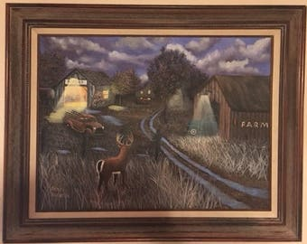 Deer on the Farm - original painting