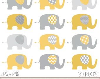 Baby Elephants Clip Art Set  / Elephant Illustration / Printable Clip Art / Commercial / Yellow Grey / Children / Nursery Art