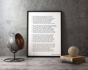 Framed print Rudyard Kipling Poem, If Poetry Art Print, Office Decor, Rudyard Kipling wall art print, Inspirational Black & White Home Decor