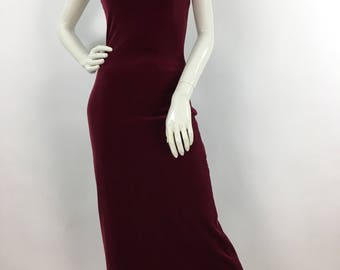 Vintage prom dress/90s burgundy crushed velvet bodycon maxi dress/evening/formal wear