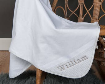 Elijah Boys Christening Blanket, Boys White Receiving Blanket, Baptism Blankets