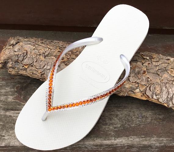 White Flip Flops Havaianas Slim flat Tangerine Peach Mango Coral w/ Swarovski Rhinestone Jewels Beach Bridal Bridesmaid Bling Wedding Shoes