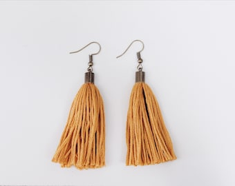 Spring collection tassel earrings | Marigold | Bronze metal | Tassel dangle earrings | Made by NativeKnot