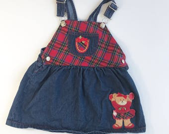 Vintage Baby Plaid Overall Dress with Cheerleader Teddy Bear Size 24 months