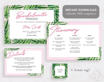 Printable Bachelorette Weekend Invitation, Hen party, Tropical, Palm Leaves, Weekend Itinerary, Instant download, Editable PDF, B103