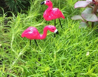 SALE Mini Pink Flamingos, Mini Garden Picks, Set of 2, Fairy Garden Accessory, Miniature Home & Garden Decor, Crafts, Topper