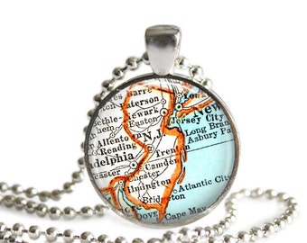 New Jersey necklace pendant charm, Atlantic City map necklace, map jewelry photo pendant, Bachelorette Map Gift Idea, Mom Gift, A258