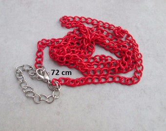 1 x red 72cm metal chain necklace
