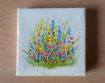 Tiny Yellow and Pink Flowers Acrylic Painting on Canvas, Miniature Painting, Original Artwork, Fine Art, Small Canvas, Art & Collectibles