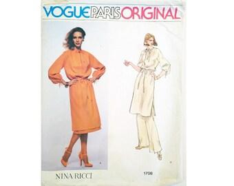"UNCUT Vogue Paris Original 1708 Nina Ricci Designer Caftan Tunic Dress, Skirt and Trouser Pants Sewing Pattern Size Bust 36"" UK 14"