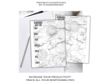 WEEKLY Marble PLANNER, Sunday to Saturday weekly planner, marble printable planner, A4 A5 half letter weekly planner, weekly schedule