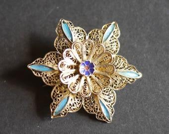 Silver gilt vermeil filigree flower brooch with blue enamel, 1930s stamped 835