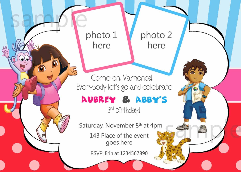 Dora and Diego Birthday Invitation Digital you print With