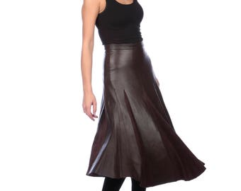 Brown Leather A-Line Midi Skirt, Midi Leather Paneled Skirt Made For Order, Leather and Suede Panels,