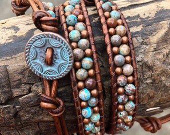 Turquoise/brown/copper double wrap bracelet