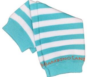Organic Newborn Leg Warmers Stripes Teal & White