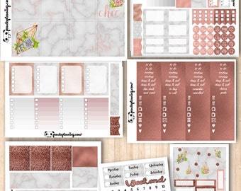 Rose Gold Obsession |Erin Condren Classic Happy Planner kit | Weekly Planner Sticker Kit |Premium Matte |Glossy | marble succulents