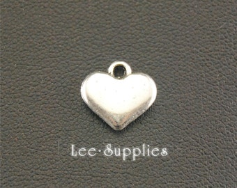 30pcs Antique Silver Alloy Puff Love Heart Charms A1330