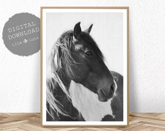 Horse Print, Photography Black and White Wall Art, Digital Download, Printable Horse Art, Black and White Horse Photo, Large Wall Art Print