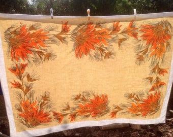 REDUCED Barkcloth/linen vintage tablecloth. Large scale autumn gold colours