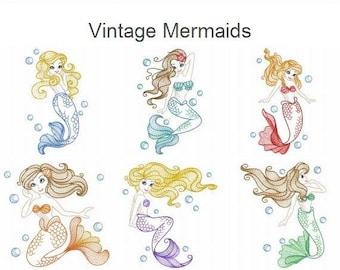 Vintage Mermaids Machine Embroidery Designs Pack Instant Download 5x5 6x6 8x8 hoop 9 designs APE2485