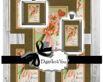Digital Download of Antique Flowers and Roses of Adorable Antique Valentine. Cute Clip Art for Love on Valentine's Day. Inchie or Dominoes.