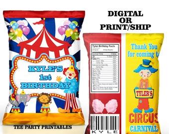 Carnival Chip Bag Custom/Chip Bag/Treat Bags/ Favor Bags/ Carnival Birthday Favor Treat Bags/Digital File/Print